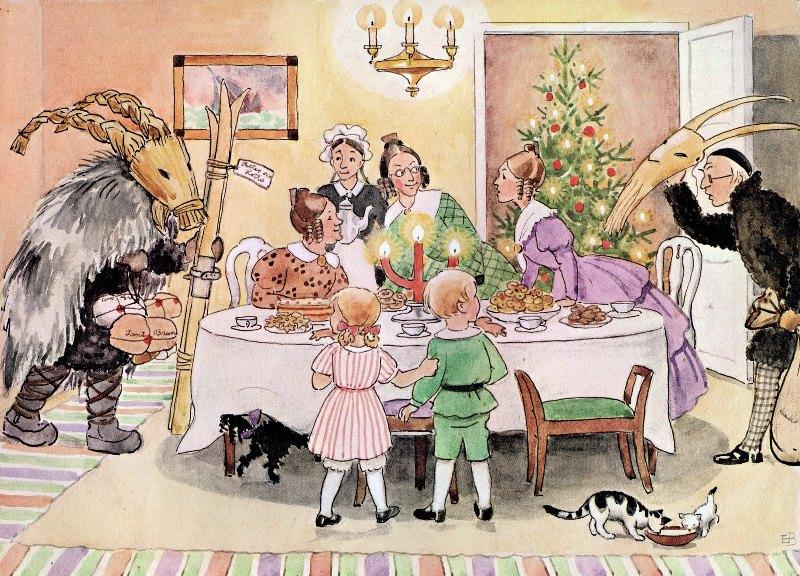Йоулупукки приносит подарки на Рождество