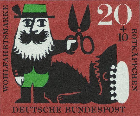 Волку разрезают живот ножницами (почтовая марка)
