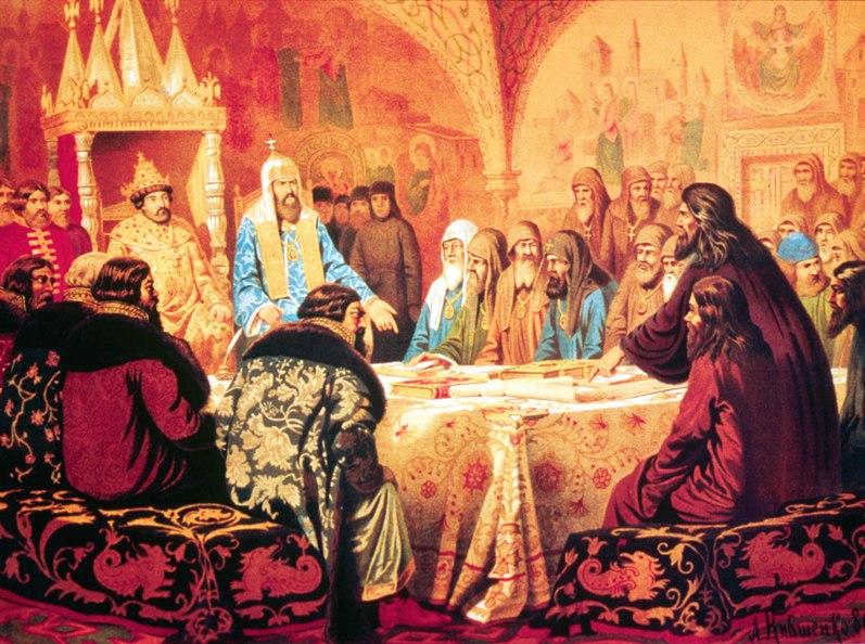 Патриарх Никон предлагает новые богослужебные книги. Художник А.Д. Кившенко