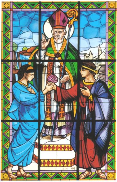 Святой Валентин венчает Серапию и Сабино. Витраж в Терни