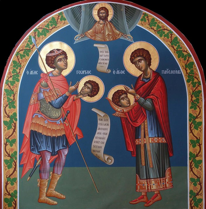 Георгий Победоносец и Пантелеймон Целитель с усеченными главами. Икона