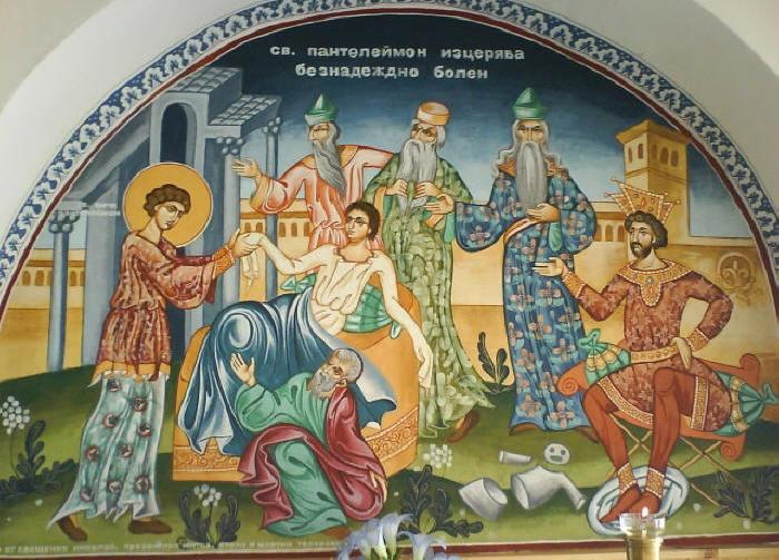 Святой Пантелеймон исцеляет неизлечимо больного. Икона