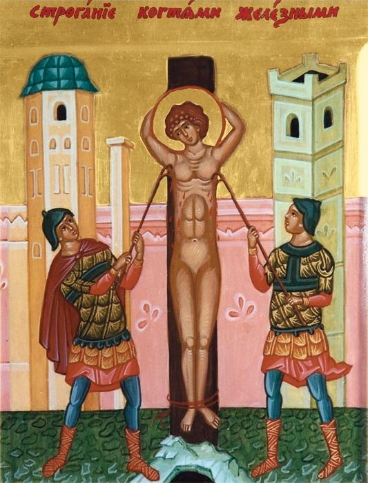 Святого Пантелеймона повесили на дереве и рвут железными когтями. Икона