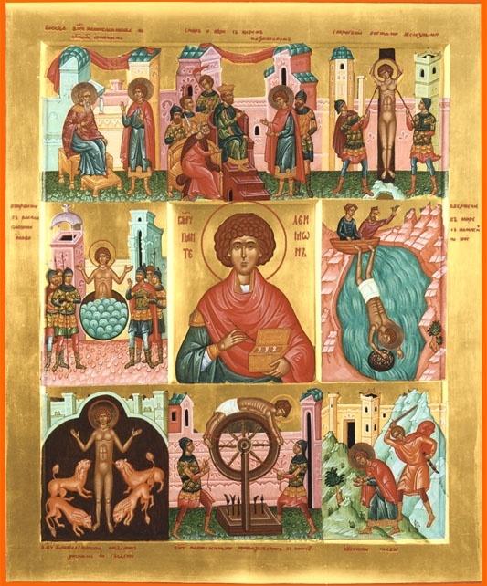 Святой Пантелеймон-целитель. Икона со сценами жития