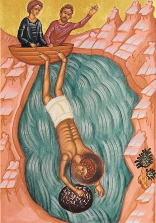 святого Пантелеймона-целителя бросают в море с камнем на шее. Икона