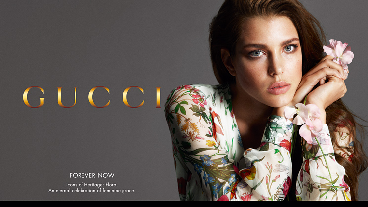 реклама коллекции Флора бай Гуччи. Модель Шарлотта Казираги. фото