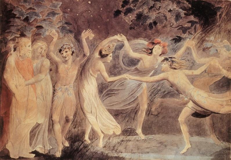 Уильям Блейк. Оберон, Титания и Пак с танцующими феями (Шекспир - Сон в летнюю ночь)