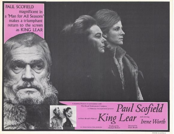 Король Лир (1971). Paul Scofield в роли короля Лира, Irene Worth в роли Гонерильи, Susan Engel в роли Реганы