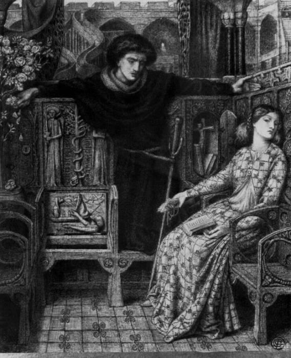 Данте Габриэль Россетти. Гамлет и Офелия (Шекспир - Гамлет)