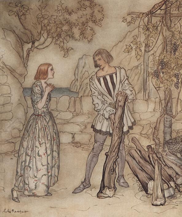 Артур Рэкхем - Миранда и Фердинанд (Шекспир - Буря)