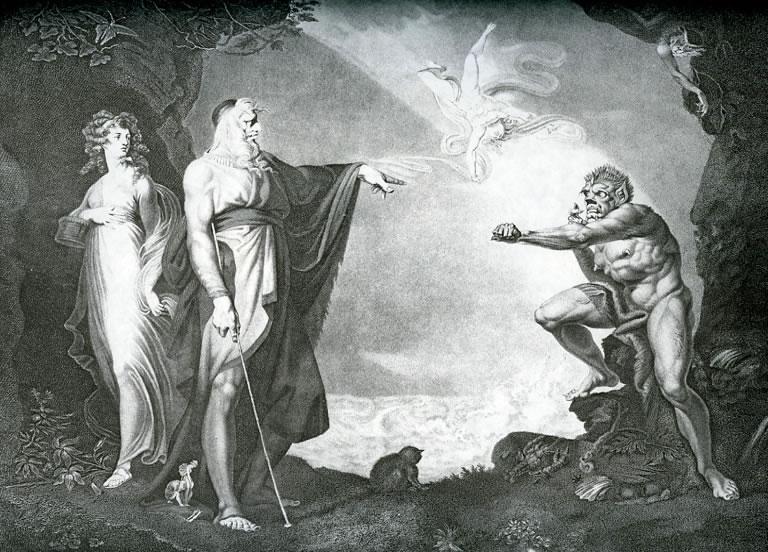 Henry Fuseli - Миранда, Просперо, Калибан (Шекспир - Буря)