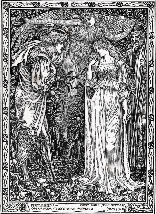 Walter Crane - Встреча Фердинанда и Миранды (Шекспир - Буря)