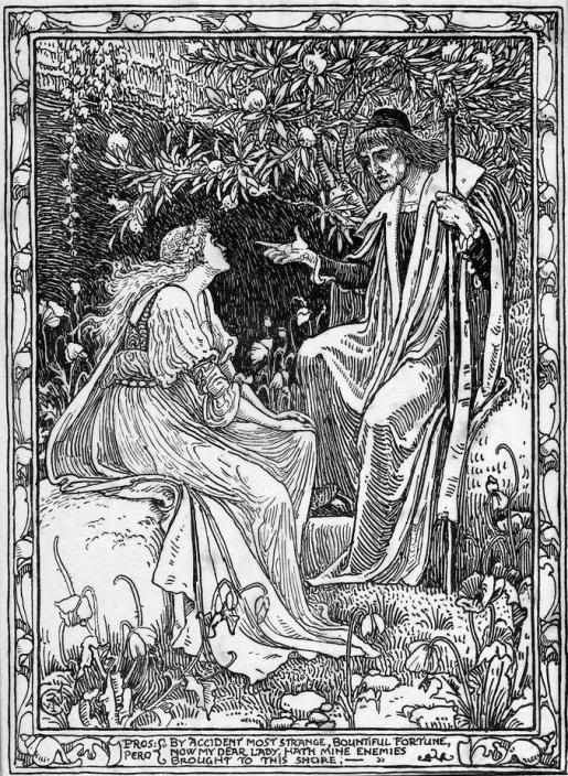 Walter Crane - Миранда и Просперо (Шекспир - Буря)