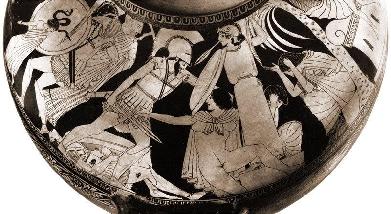 Аякс и Кассандра. Древнегреческая роспись