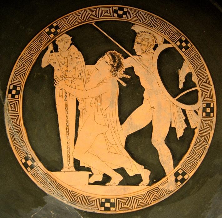 Аякс и Кассандра. Древнегреческая роспись. 5 век до н.э.
