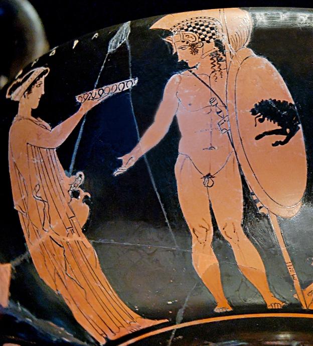 Кассандра и Гектор. Древнегреческая роспись, 5 век до н.э.