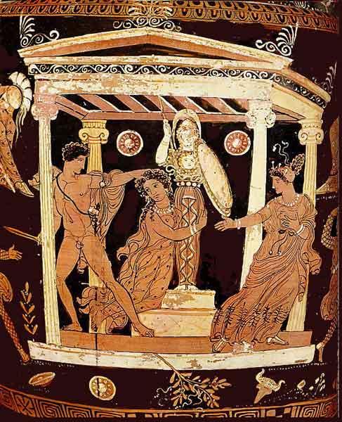Аякс и Кассандра. Древнегреческая роспись. 4 век до н.э.