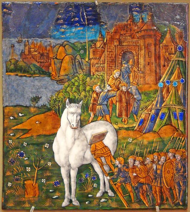 Троянский конь. Средневековая миниатюра