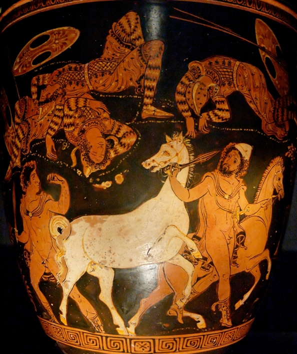 Диомед (слева) и Одиссей (справа) похищают коней у фракийского царя. Греческая роспись, 4 век до н.э.