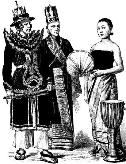 Бирманский офицер, министр, бирманская девушка