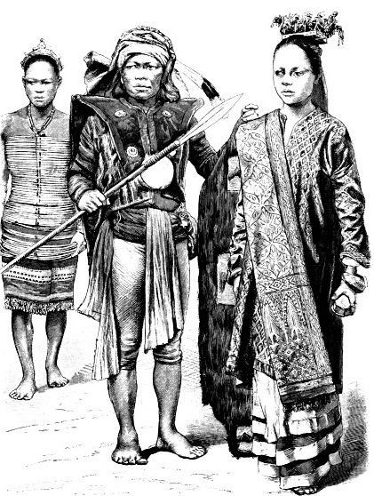 Жители Индонезии (девушка из народности даяков, воин, девушка-аристократка)