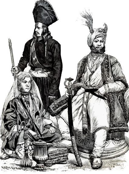 Жители Кашмира (Индия). Танцовщица, солдат, раджа