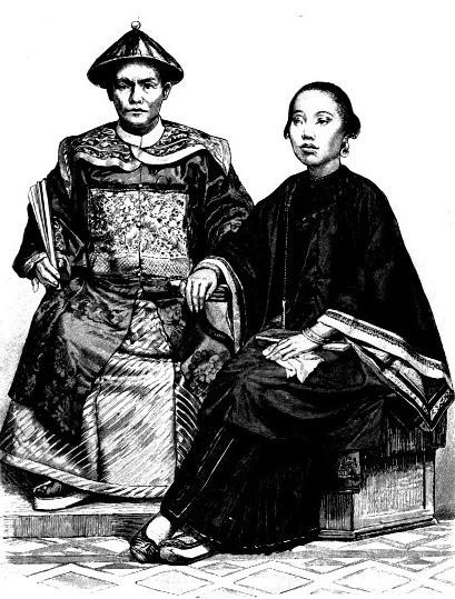Китайский купец в торжественной одежде, женщина из города Макао
