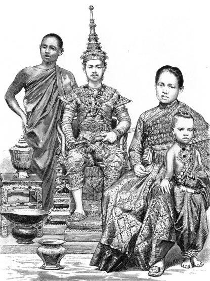 Сиам. Буддийские монахи, король и королева