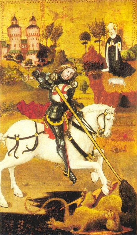 Святой Георгий и дракон. Деталь алтаря в Праге