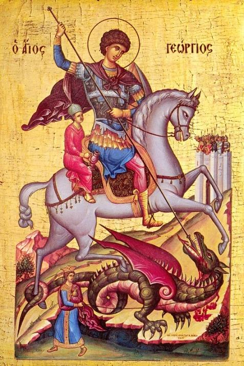Византийская икона. Святой Георгий спасает мальчика (отрока) от Змия. Рядом с драконом изображен некий человек. В чем его роль?