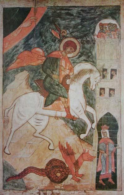 Чудо Георгия о змие. Русская икона. Конец 15-го - начало 16-го веков