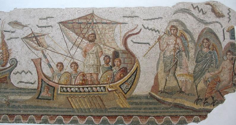 Одиссей и сирены. Римская мозаика, 2 век