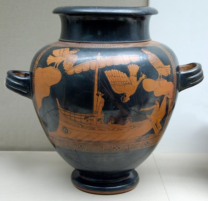 Одиссей и сирены. Древнегреческая роспись, 5 век до н.э.