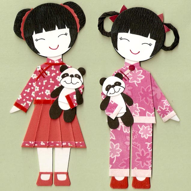 national costumes asian countries on the paper doll