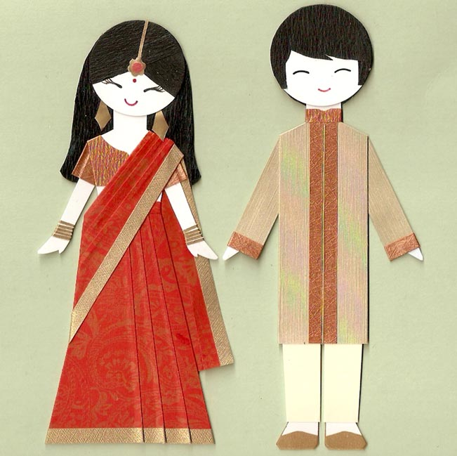 Индийские девушка и юноша