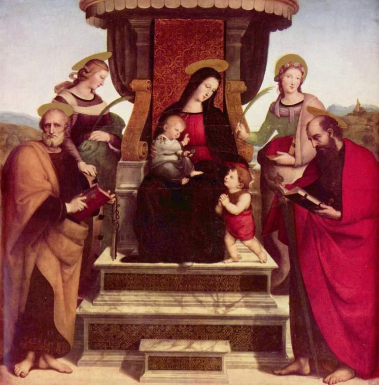 Рафаэль Санти - Мадонна с младенцем на троне и святые
