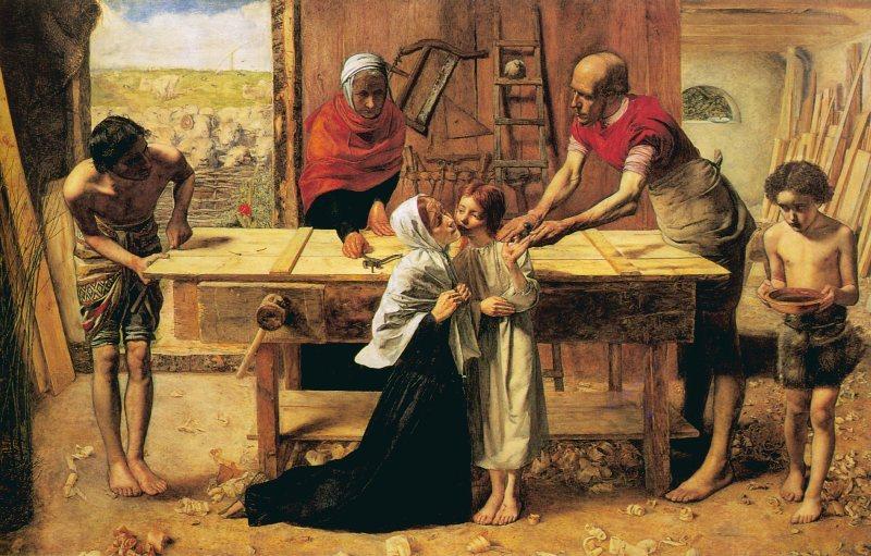 Джон Эверетт Миллес - Святое семейство в мастерской Иосифа
