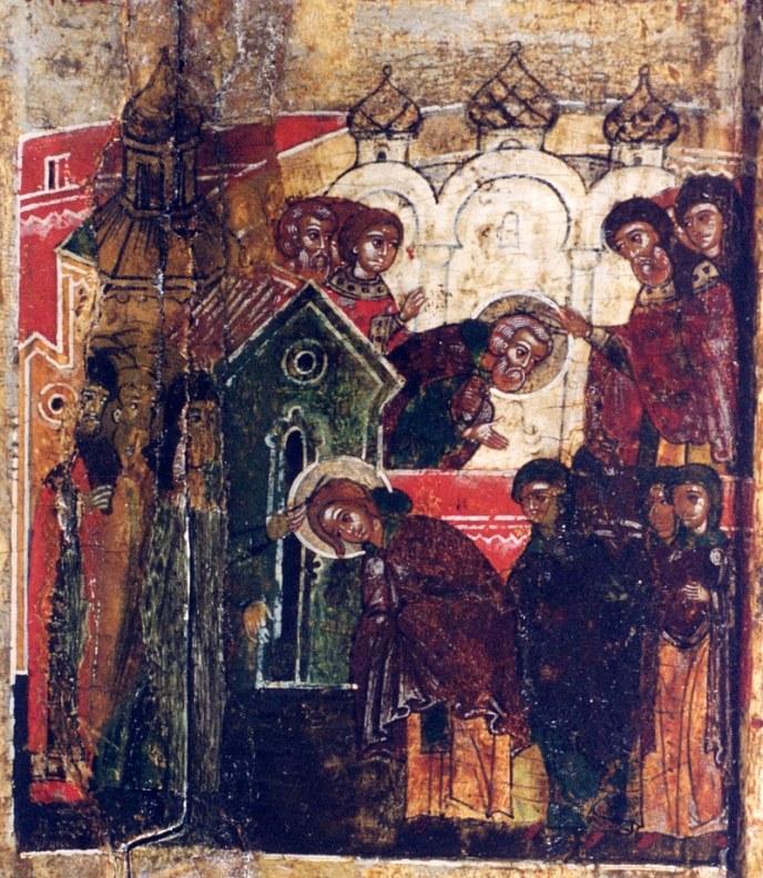 Иноческий постриг Петра и Февронии. Фрагмент иконы 17 века