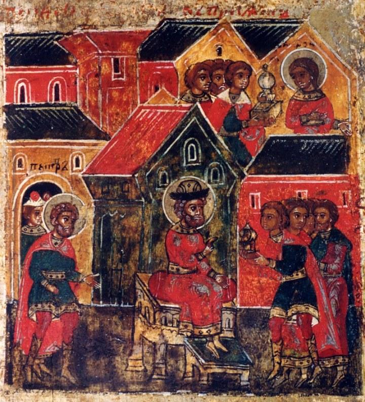 Исцеленный князь Петр посылает Февронии дары, которые она не принимает