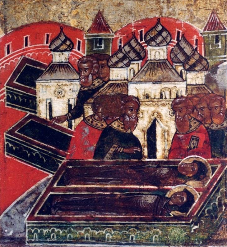 Обретение тел Петра и Февронии в едином гробе. Фрагмент иконы 17 века