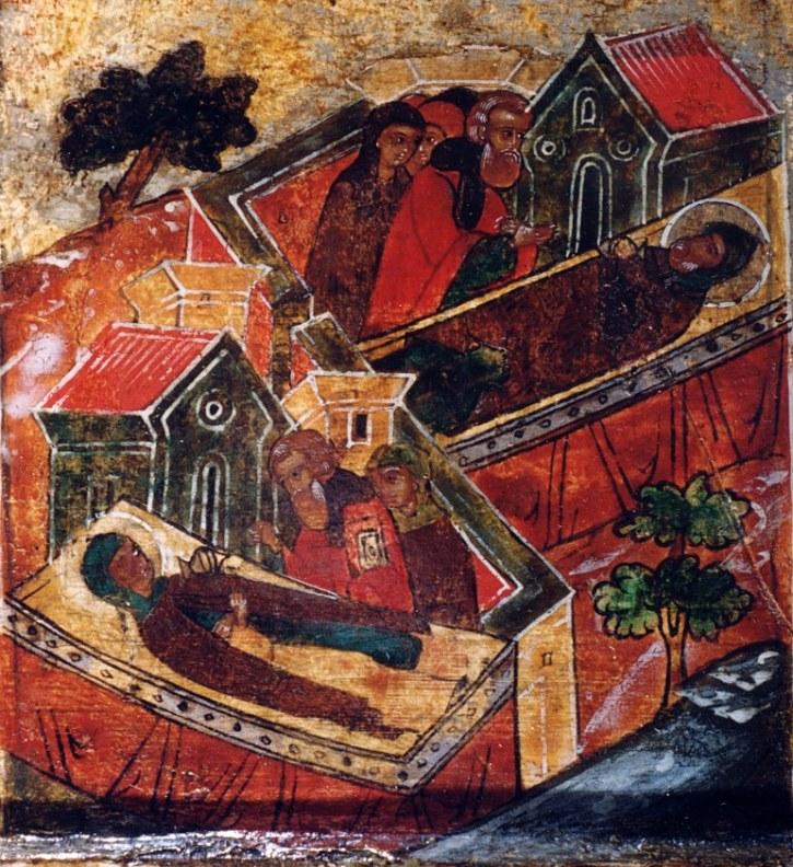 Смерть Петра и Февронии. Фрагмент иконы 17 века