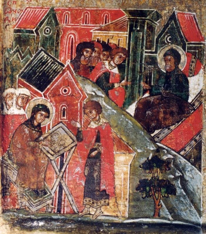 Пётр и Феврония в монастыре. Фрагмент иконы 17 века