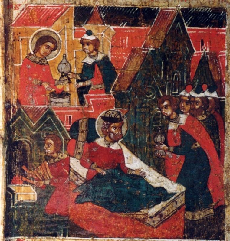 Феврония передает сосуд со снадобьем и объясняет, как получить исцеление. Фрагмент иконы 17 века