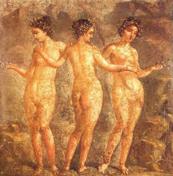 Три грации. Фреска из Помпей, ок. 60 г. до н.э.