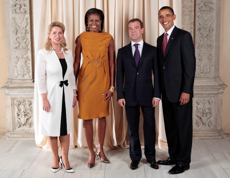 Барак Обама, Мишель Обама, Дмитрий Медведев, Светлана Медведева. Фото