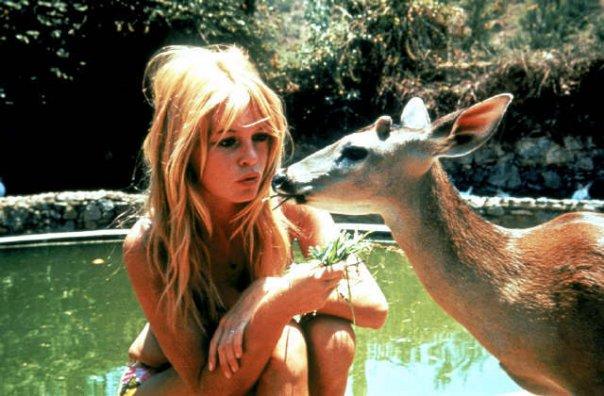 Брижит Бардо и животные (фото): оленёнок / Brigitte Bardot & animals (Photos): deer