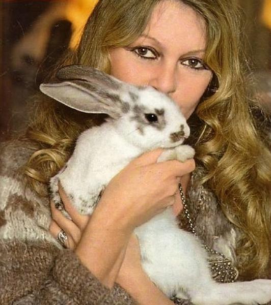 Брижит Бардо и животные (фото): кролик / Brigitte Bardot & animals (Photos): rabbit