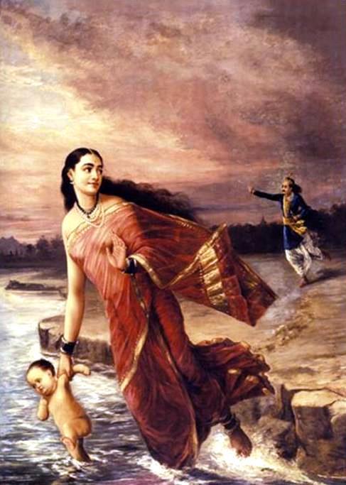 Raja Ravi Varma. Ганга и Шантана