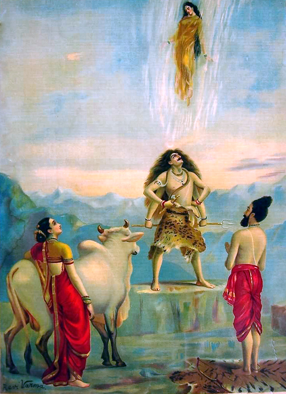 Ravi Varma - Спуск Ганги с неба, которую ожидают Шива, Бхагиратха, Парвати и бык Нанди.