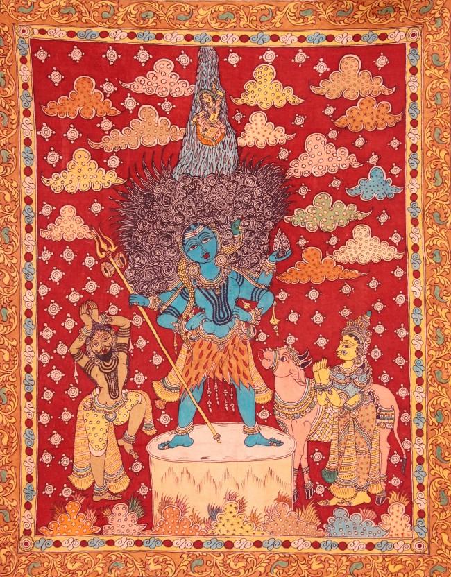 Спуск Ганги с неба, которую ожидают Шива, Бхагиратха, Парвати и бык Нанди.